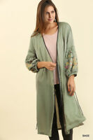 UMGEE Long Kimono Cardigan Jacket Embroidered Sage Green S,M,L