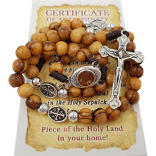 Olive Wood Rosary Beads Catholic With Jerusalem Holy Soil Cross & Certificate