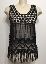 Vintage Black Boho See Through Crochette Sleeveless Woman Sexy Blouse Sz Medium
