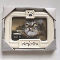 Malden International Glazed Ceramic White Cats Purrfection Picture Frame 3.5x5