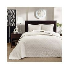 King Size Bedding Oversized Bedspread 3 Piece Ivory Elegant Classic 120 x 118 In