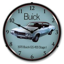 Retro Style 1970 Buick Gs 455 Stage 1 Led Lighted Backlit Man Cave Wall Clock