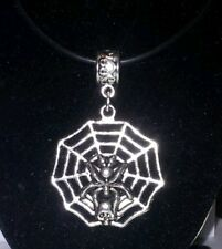 Pendant - Spider on Web on black necklace Steampunk Goth JoMacDesigns