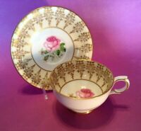 Windsor Pedestal Tea Cup And Saucer - White And Gold With Pink Rose - England