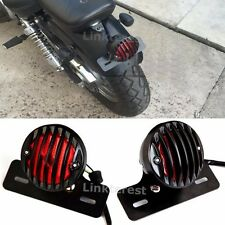 Vintage Aluminum Grill Motorcycle Brake Tail Light Lamp License Plate Mount