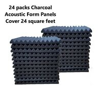 24 Acoustic Foam Panel Wedge Studio Soundproofing Tiles 12x12x1 Charcoal