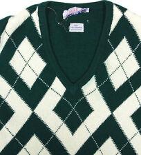 Berk Ballantyne Forest Green Cream Argyle V-Neck Mens Sweater size Medium Large