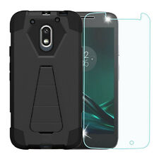 Black Shockproof Rugged Case+Tempered Glass Cover for Motorola G4 Play XT1607