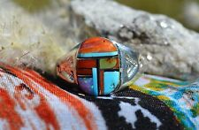Modernistic Navajo Sterling Silver Ring Multi Stone Inlay Blue Turquoise Size 11