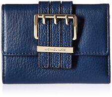 NEW MICHAEL KORS GANSEVOORT MEDIUM TRIFOLD NAVY BLUE LEATHER CLUTCH WALLET