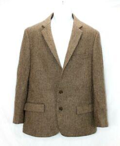 J Crew Herringbone 2 Button Blazer Men's 40R Brown Tweed 90% Wool NWT