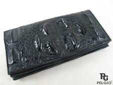 PELGIO Crocodile Alligator Hornback Skin Leather Checkbook Long Wallet Black New