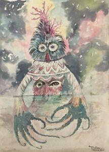 Tony Ximenez. Painting. El Hombre del Oceano, 1962. Original signed. Mixed media