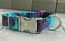 1 inch Colorful Purple and Teal Adjustable Dog Collar with Metal Buckle