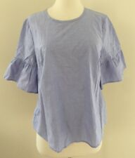 NEW JCrew Button-Back Bell-Sleeve Top Blouse Peri Blue  G2264 Size 8 NEW