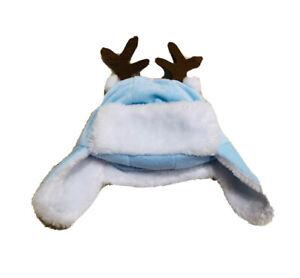 Newborn Infant Baby Boy Blue White Reindeer Aviator Winter  Hat