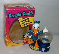 "% 1970'S Walt Disney Donald Duck Gumball Machine 8"" Tall In Original Box"