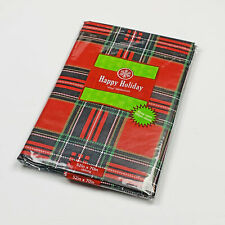 "Christmas Holiday Red Plaid Vinyl Tablecloth 52""x70"" Oblong"