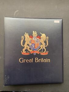 SG Black Padded GB Album With Hingeless Pages 1840-1970 Partially Filled (1392)
