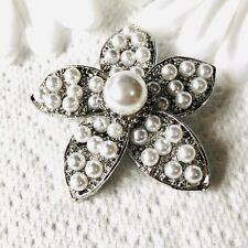 Flower Brooch. Simulated Pearl