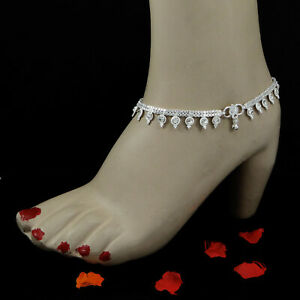 Silverplated Women Barefoot Anklet Chain Payal Bracelet Bridal Ankle Jewelry