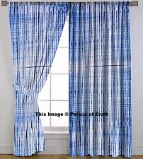 Indian Wall Drapery Indigo Blue Handmade Tie Dye Curtains 2 Panel Scarf Dividers