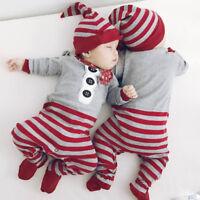 Navidad Bebé Recién Nacido 2pcs Set Niña Niño Monos Mono + Sombrero Disfraz Ropa