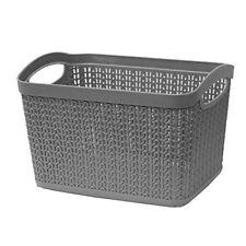 JVL Knit Design Loop Plastic Rectangular Small Storage Basket with Handles-6.6 L
