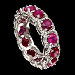 Round Red Ruby 4mm Cz 14K White Gold Plate 925 Sterling Silver Ring Size 6