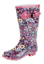Girls Children Flower Print Wellington Boots Rain Snow Floral Wellies