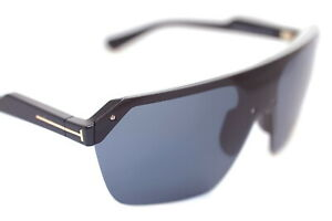 TOM FORD RAZOR TF797 01A Mens Large Square Shield Sunglasses BLACK GOLD GREY