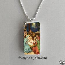 Nativity Necklace Domino VTG Christmas Art Charm Pendant Mary Joseph  Baby Jesus