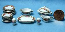 Dollhouse Miniature China Dinnerware and Tableware Pieces - Pink Floral P0406