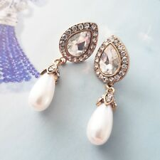Stunning vintage white crystal tear drop pearl statement bridal stud earrings