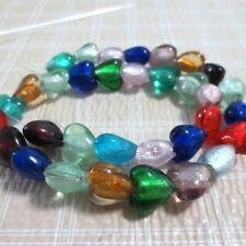32 12mm Assort Lampwork Glass Silver Foil Heart Beads