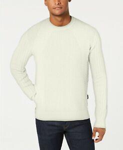 $196 Sean John Men's White Moto Rib Long-Sleeve Crew-Neck Pullover Sweater 3XL