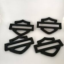 Harley Davidson Emblems, 4 pcs, Black, sized for Gas Tank! Thicker!!
