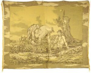 HERMES Wheat Gold & Brown CHEVAL Horse Print 100% Cashmere Throw Blanket