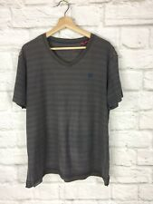 Esprit XXL Striped Short Sleeved T  Shirt with V Necked in Brown & Blue