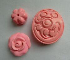 3 Sculpté Rose Turquoise Pierres Précieuses Perles. ROSE/focal/melon. fabrication de bijoux/perles
