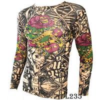 Skeleton Rose Tattoo Sport T-Shirt Tattoo Tops Biker Cycling Fitness Plus Size