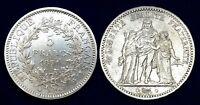 5 Francs Hercule 1871A Paris RARE en TTB Argent 25 gr