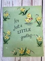 Hallmark Happy Easter Vintage Greeting Card Baby Chicks Eggs In Yard Great Decor