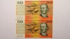 1972 Twenty Dollars Phillips / Wheeler Consecutive Pair of Banknotes