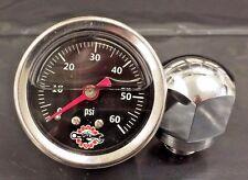 Chrome Rocker Box Shaft End Oil Pressure Gauge Harley Ironhead Shovelhead black