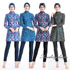 3PC Women Muslim Swimwear Printed Modesty Burkini Swimsuit Full Cover Beachwear
