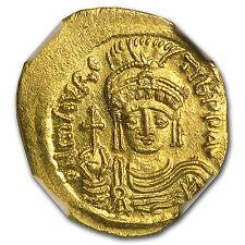 Byzantine Gold Solidus Maurice Tiberius (582-602 Ad) Ms Ngc - Sku #94674