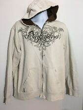 Quick Silver Men's Long Sleeve Hoodie Beige Front Hand Warmer Sweatshirt L