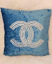 "Luxury Sparkle Crystal Velvet Turquoise Teal Cushion Cover + Cushion Pad 18x18"""