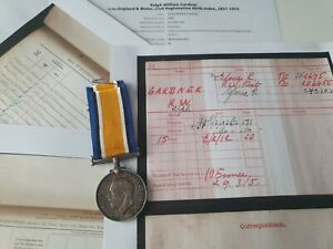 WW1 British War Medal to Pte Gardner, 5th Gloucestershire Regiment, Evesham man